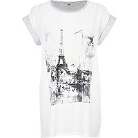 White Paris print t-shirt
