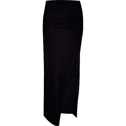 Black wrap thigh split maxi skirt