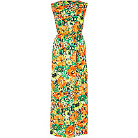 Orange floral print sleeveless maxi dress