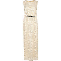 Cream lace belted maxi dress