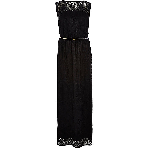 Black lace belted maxi dress