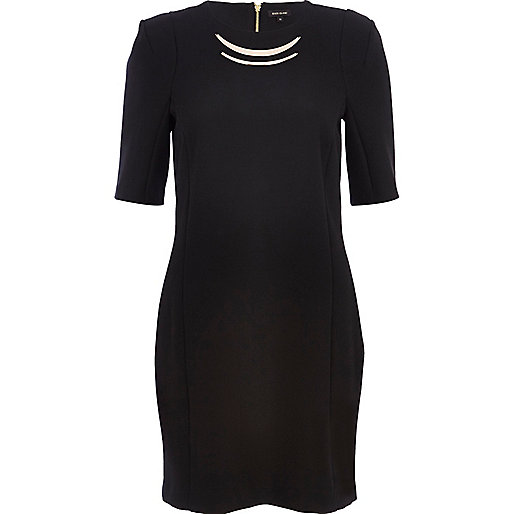 Black metal trim shift dress