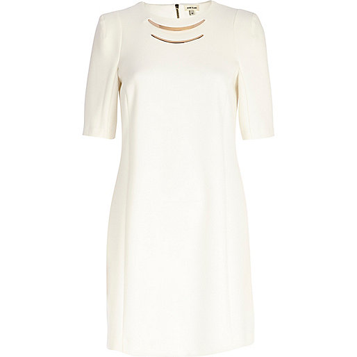 Cream metal trim shift dress