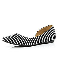 Black and white stripe cut out ballet pumps