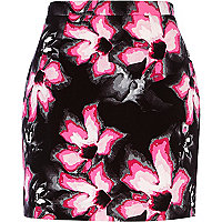 Black lily print A line mini skirt