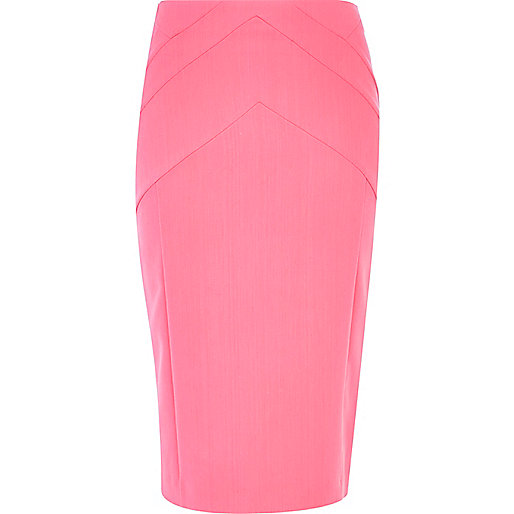 Light pink zip through pencil skirt