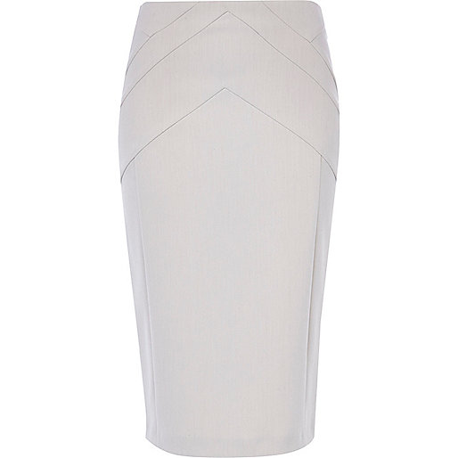 Light grey zip through pencil skirt