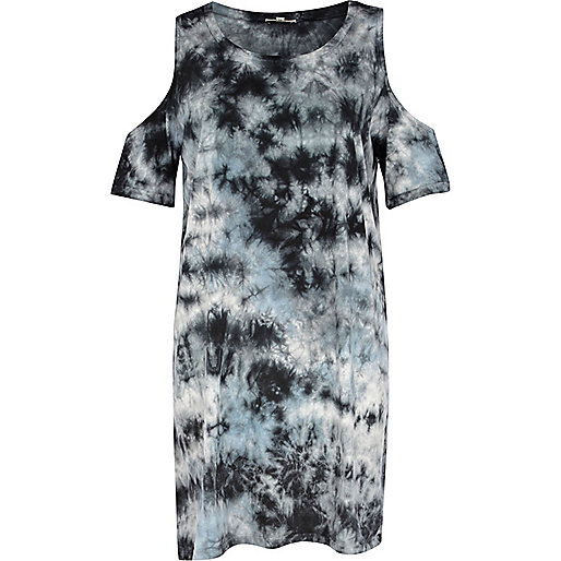 Blue tie dye cold shoulder t-shirt dress