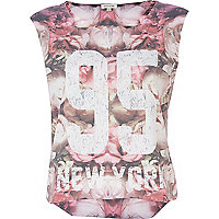 Pink floral 95 New York tank top