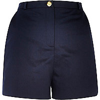 Navy blue high waisted smart shorts