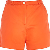 Dark orange high waisted smart shorts