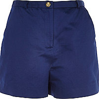 Bright blue high waisted smart shorts