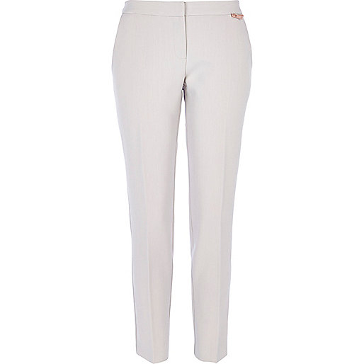 Light grey slim cigarette pants