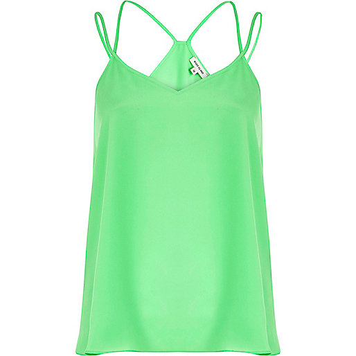 Green double strap V neck cami top
