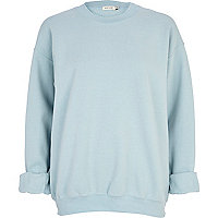 Blue brushed oversized sweatshirt