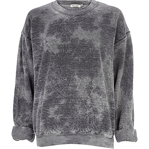 Grey tie dye brushed oversized sweatshirt