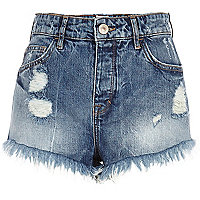 Mid wash ripped denim high waisted shorts