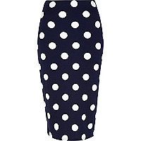 Navy polka dot high waisted skirt
