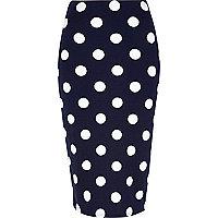 Navy polka dot high waisted skirt