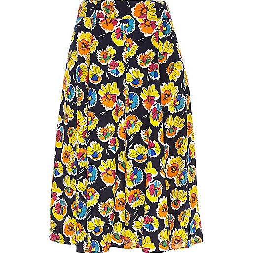 Navy daisy print midi skirt