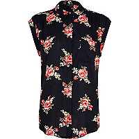 Navy floral print roll sleeve shirt