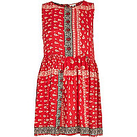 Red tribal print sleeveless smock dress