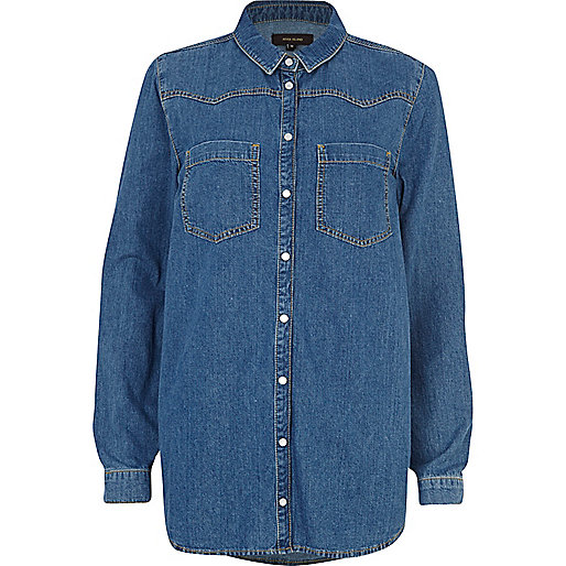 Mid wash oversized raw denim shirt