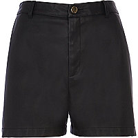 Black leather-look high waisted shorts