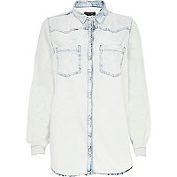 Light acid wash denim boyfriend shirt