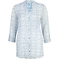 Blue ditsy floral print roll sleeve shirt