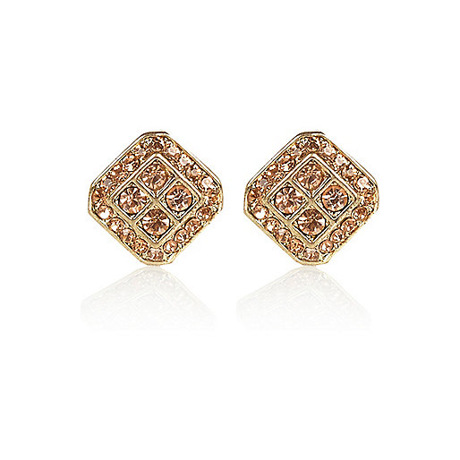 Gold tone diamante square stud earrings