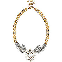 Gold tone encrusted short necklace
