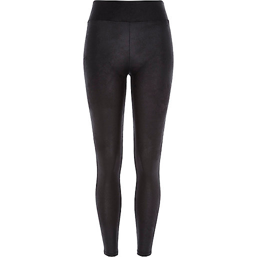 Black leather-look high waisted leggings
