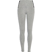 White dogtooth high waisted leggings