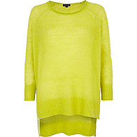 Lime mohair stepped hem slouchy jumper