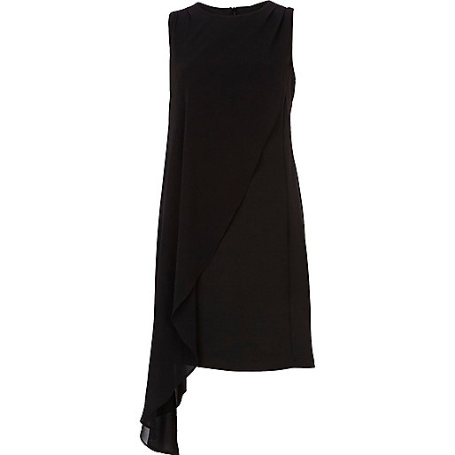 Black draped chiffon bodycon dress