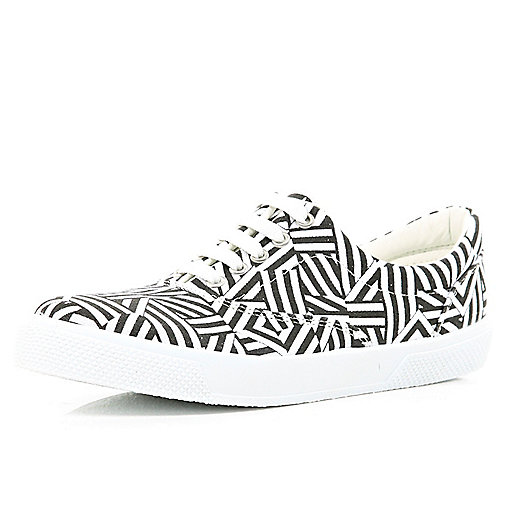 Black and white printed lace up plimsoll