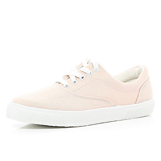 Light pink canvas lace up trainers