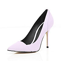 Light purple toe cap pointed court shoes
