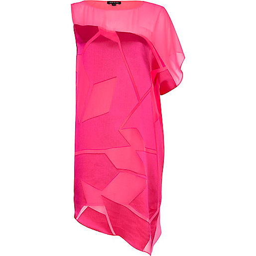 Bright pink one shoulder burnout dress