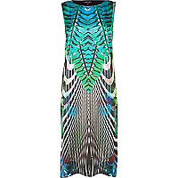 Green abstract print sleeveless shift dress