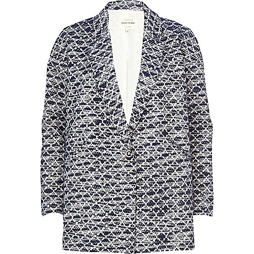 Navy diamond jacquard oversized coat
