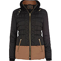 Black two-tone colour block padded jacket