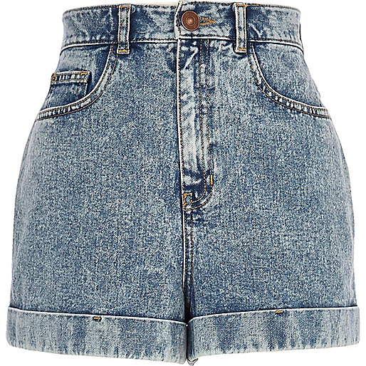 Light acid wash high waisted denim shorts