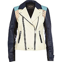 White colour block leather biker jacket