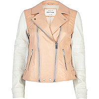 Pale coral colour block leather biker jacket