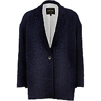 Navy boucle oversized coat