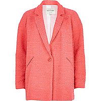 Pink textured oversized jacket