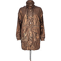 Gold metallic lightweight parka jacket