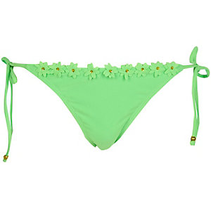 Light green 3D floral trim bikini bottoms